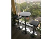 Chrome stools and table set - black