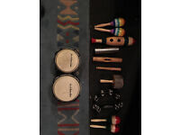 A collection of various percussive instruments