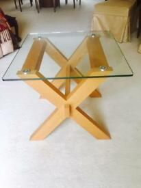 Glass side table with wooden stand x2