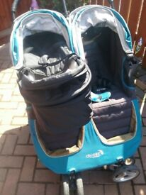 Teal City Mini Double buggy with new born carrycot