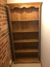 Solid wood oak style open bookcase.