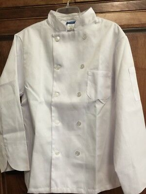New Kng White Classic Long Sleeve Chef Coat Size L Unisex