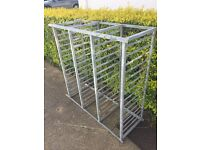 Galvanised steel racking. Very strong and heavy.