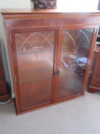Quality dresser top/display cabinet - yew finish - Kelvin - glass doors/shelves