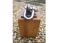 Wooden door stop. Handmade from reclaimed oak. Really heavy and solid. Industrial/cottage style.