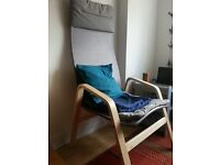 ikea chair in light grey. comfortable and lightweight