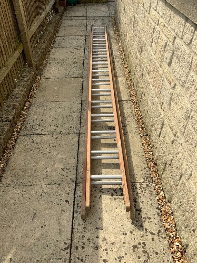 Vintage Wooden Double Extension Ladder With 16 Aluminium Rungs 4 2 M Long In Bath Somerset Gumtree