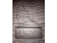 Gorgeous glitter detail silver clutch/shoulder bag