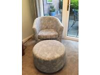 Pale blue tub chair and foot stool. Excellent condition.
