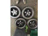 """4 x gloss black alloys for vw 16"""""""
