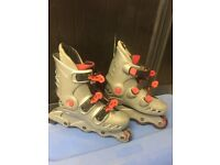 inline skates, grey and red size 1-4