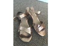 Rose gold sandals from Dune