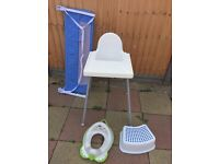 Selling high chair + potty training seat + bed side protector
