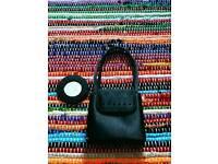 Handbag/purse - Black satin with attached mirror