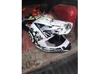 Adults large white motocross helmet and gloves