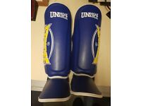 Sandee Cool-Tec Blue Yellow Shin Guards Kids Youth Kickboxing Muay Thai