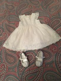 Beautiful ivory flower girl dress and shoes