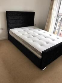 Double bed with mattress- crushed velvet