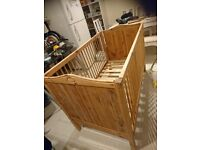 Pine cot bed in great condition, converts to junior bed