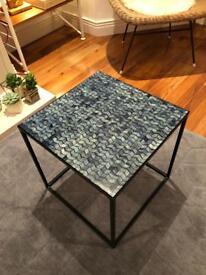 La Redoute Blue Chevron Mosaic Side Table Black Metal Cube Frame