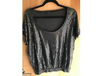 Ladies sequin top Papaya size 14