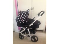 Hauck Malibu xl dotty travel system just a few months old pushchair pram car seat raincover