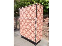 Retro Mid Century Cocktail Cabinet Cupboard/ Writing Bureau restyled in coral & Black geometric