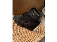Black Wedge Trainer style shoes - size UK 3