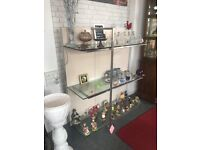 FURNITURE. SHELVING UNIT. 3 TIER. QUALITY. 2 MATCHING AVAILABLE. SAFETY GLASS