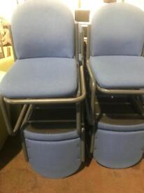 Light Blue Canter Chairs - Grey Base