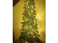 7ft Christmas tree, lights and decorations