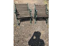 2 Vintage garden chairs lovely ornate cast iron