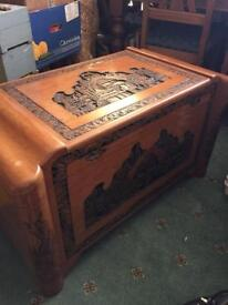 Carved camphor wooden storage chest trunk