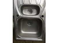 Stainless steel twin dual kitchen sink and drainer