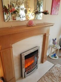 Elgin and hall ember electric fire and suite