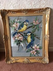 Tapestry picture 2 blue tits