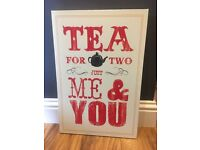 Canvas print, red/cream large letters Tea for two