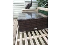 Rattan garden side table with optional glass top