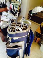 Women and men's golf clubs. Right hand