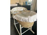 Cream Moses basket set for baby