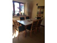 Solid wooden pine dining table and 6 chairs