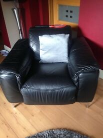 BLACK LEATHER CHAIR & BLACK CABINET