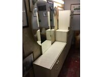 Vintage high gloss dresser with mirror and chest of drawers set. Immaculate condition.