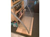 Glass/Wood TV stand. Good condition. Great for first starter home