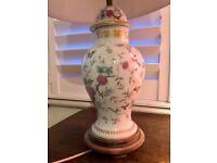 Antique ceramic floral lamp