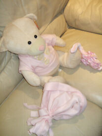 BRAND NEW Soft toy Baby Girl Teddy H 36cm x L 32 cm x W 26 cm