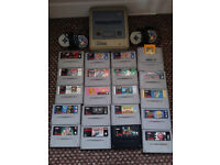 SNES Super Nintendo Console + 19 Games + 2 Controllers