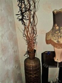 Decorative Tall Wicker Vase incl. Branches and Lights. Ideal for corner display.
