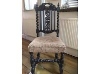 ANTIQUE VICTORIAN CARVED SOLID OAK BARLEY TWIST HALL CHAIR,