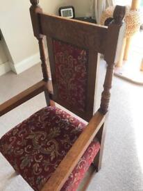 Solid medium oak carver chair